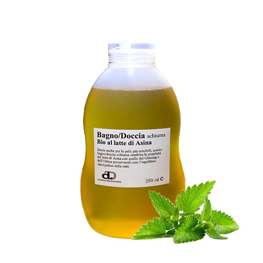 Bagno/Doccia al latte d'asina Bio con olio essenziale di menta piperita